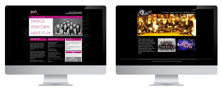 Dance Fuse and Taboo Dance Company web design